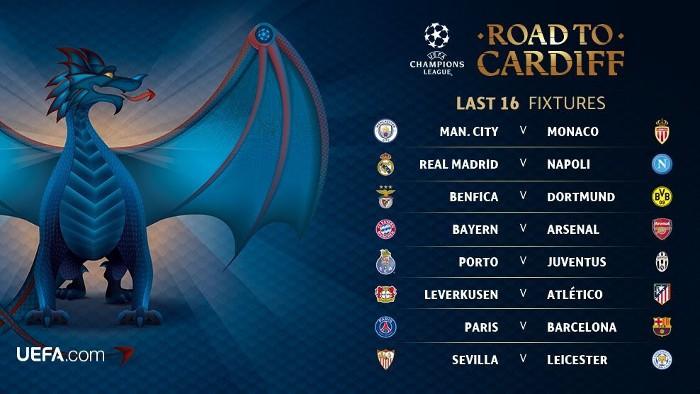 Así serán los cruces de octavos de final de la Champions League