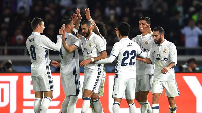 El Real Madrid festejando su segundo título en el Mundial de Clubes