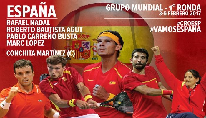 El equipo de España para la primera eliminatoria de Copa Davis 2017