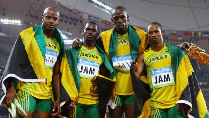 Nesta Carter, junto a Bolt, en los Juegos Olímpicos de 2008