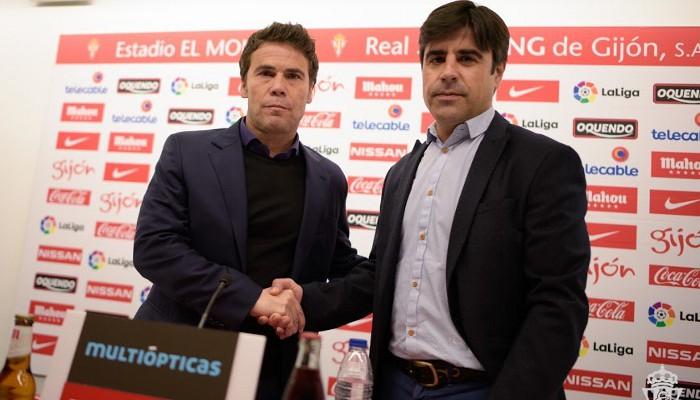 Rubi en su presentación como entrenador del Sporting de Gijón