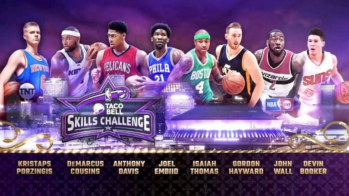 Los participantes del concurso de habilidades del NBA All Star 2017