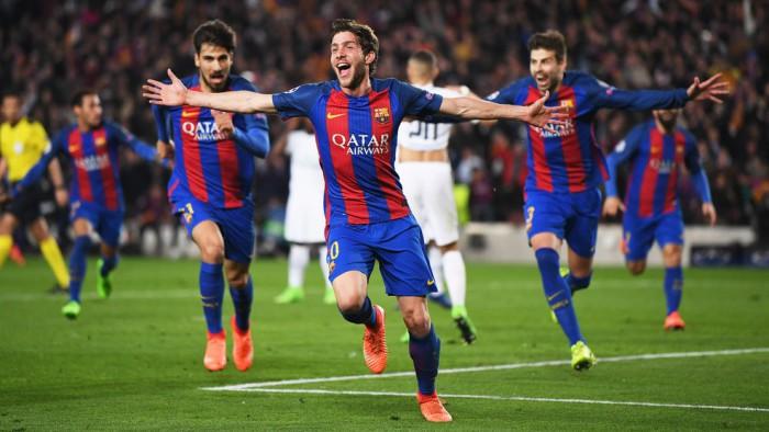 Sergi Roberto marcó el gol final en una noche histórica para el Barcelona
