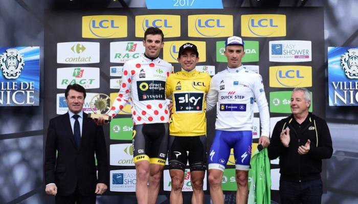 El podio de la París Niza 2017, con Sergio Henao como campeón