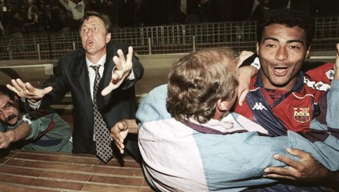 El Barcelona celebra la liga de 1994, ganada en la última jornada