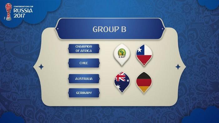 Camerún, Chile, Alemania, Australia y Alemania forman el Grupo B de la Copa Confederaciones 2017