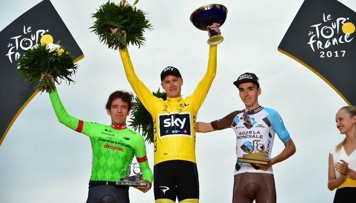 El podio del Tour de Francia 2017 con Chris Froome en lo más alto