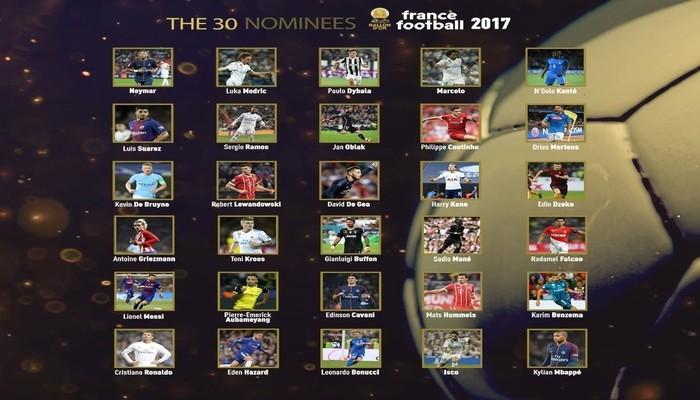 Nominados al Balón de Oro 2017
