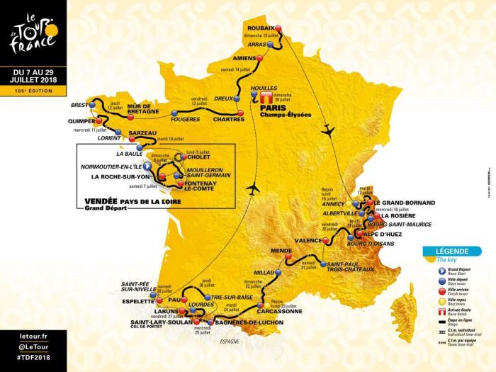 El mapa con el recorrido del Tour de Francia 2018