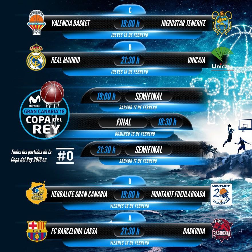 Cruces y horarios de la Copa del Rey 2018 de baloncesto