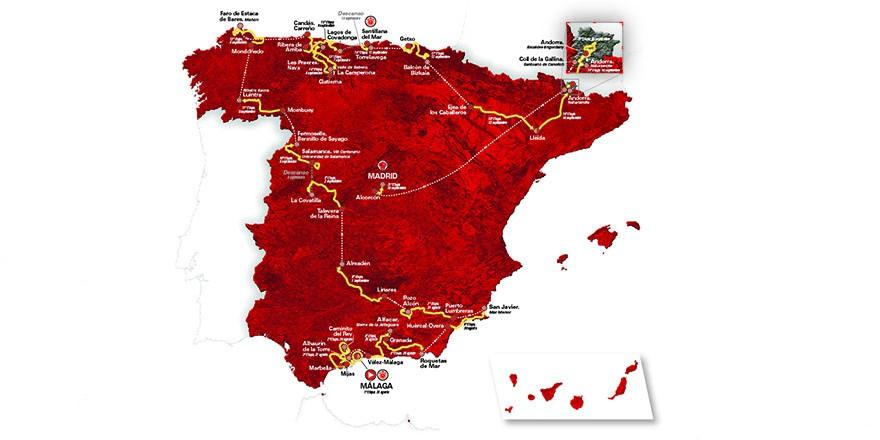 Mapa del recorrido de la Vuelta a España 2018