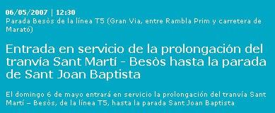 El tranvía llega hasta Sant Joan Baptista