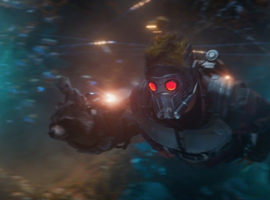 Guardians Of The Galaxy Vol. 2..L to R: Groot (Voiced by Vin Diesel), Rocket (Voiced by Bradley Cooper) and Star-Lord/Peter Quill (Chris Pratt)..Ph: Film Frame..©Marvel Studios 2017