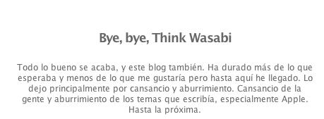 Bye Bye Think Wasabi