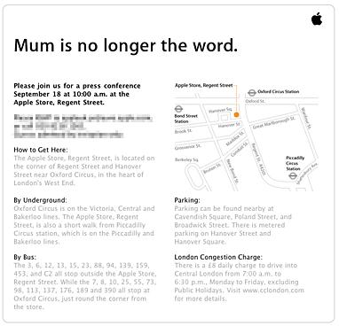 Cita en la Apple Store de Londres el 18 de Septiembre