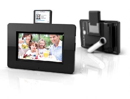 Marco de fotos digitales con dock para iPod