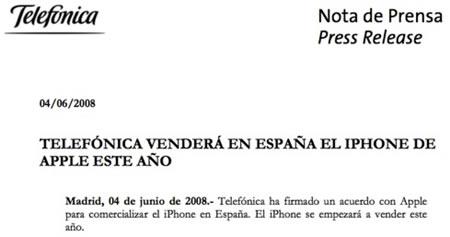 comercializacin iphone, nota de prensa