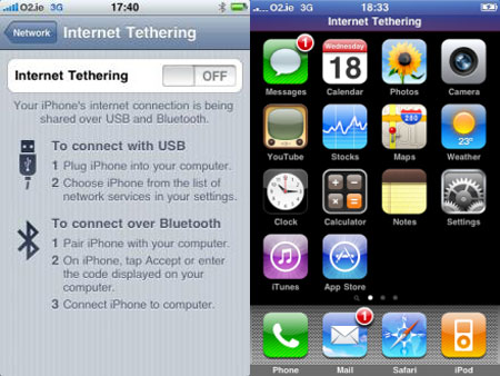 Tethering en el iPhone OS3