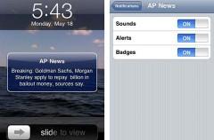 Capturas de pantalla de las notificaciones push en el iPhone 3.0