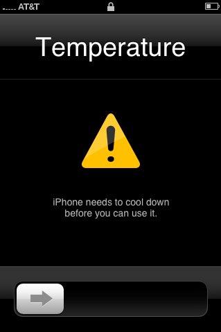 Mensaje de aviso de sobrecalentamiento en el iPhone