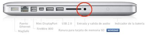 Conector audio MacBook Pro 13