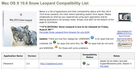Compatibilidad Snow Leopard
