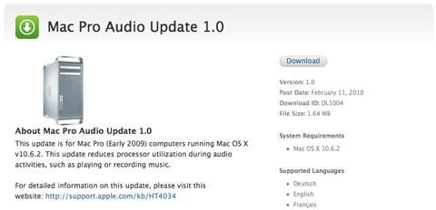 Actualización de audio en los Mac Pro