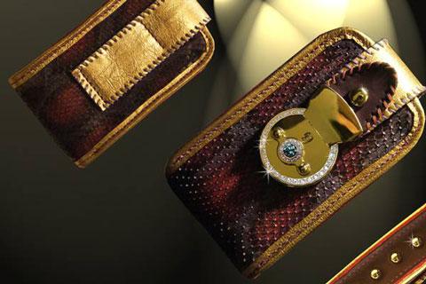 Funda para el iPhone de oro y diamantes