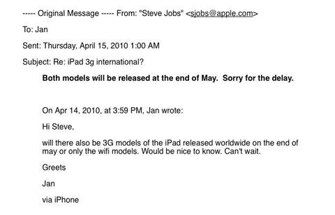 Jobs responde consulta sobre iPad