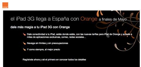 Orange ya muestra información sobre el iPad en su web