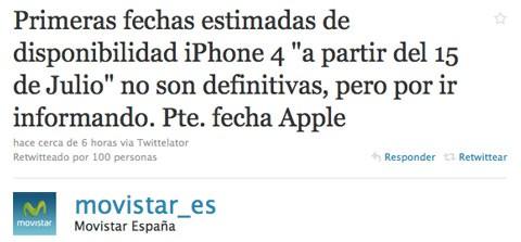 Movistar informa del lanzamiento del iPhone 4 en Twitter