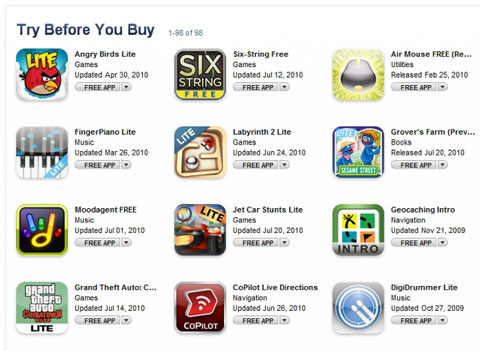 AppStore Try before buy