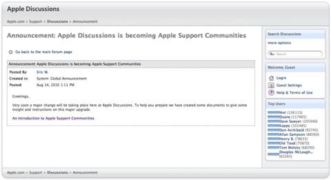 Foros de soporte Apple