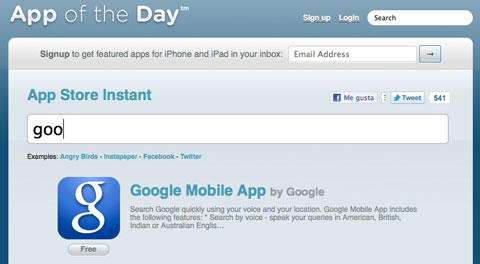 App of the day instant