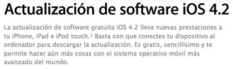 iOS 4.2 para iPad, iPhone e iPod Touch disponible desde hoy