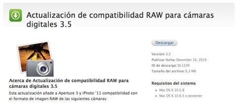 Actualización compatibilidad RAW 3.5