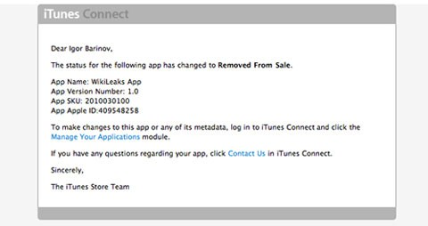 WikiLeaks es eliminada de la AppStore