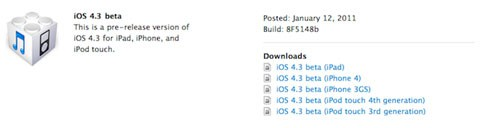 iOS 4.3 Beta1