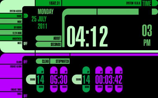 Time: Reloj estilo LCARS