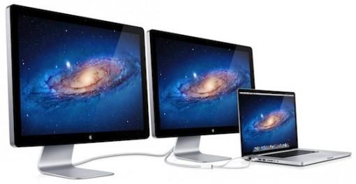 MacBook Pro con dos LED Cinema Display