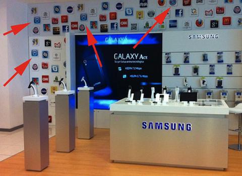Samsung utiliza iconos de Apple para decorar una de sus tiendas
