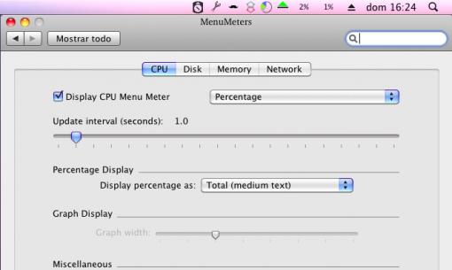 MenuMeters, información del sistema en la barra de menús