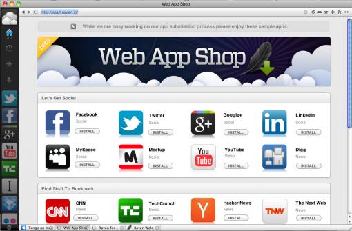 Raven, navegador que convierte sitios en aplicaciones