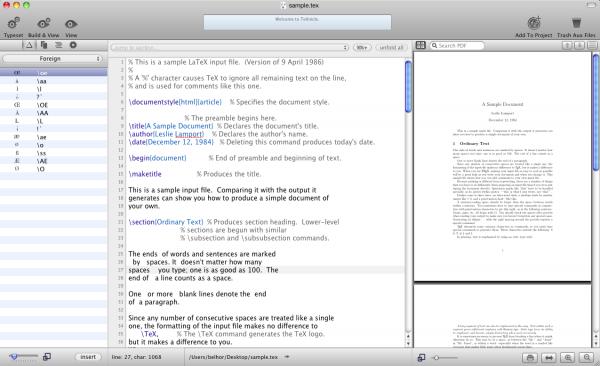 TeXnicle, editor de LaTeX y organizador de proyectos