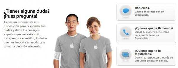 Captura de pantalla del servicio de 'Pregunta ahora' de la Apple Online Store
