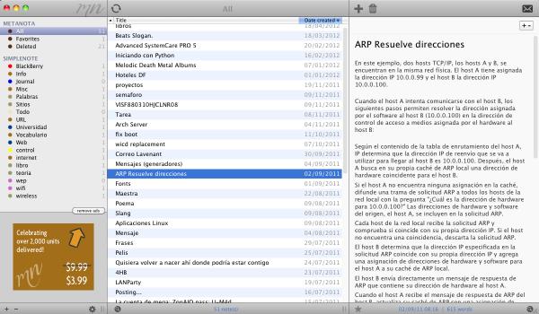 Metanota, cliente de escritorio para Simplenote