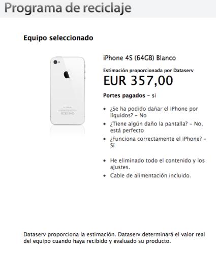 Programa de reciclaje de iPhone 4S Apple España