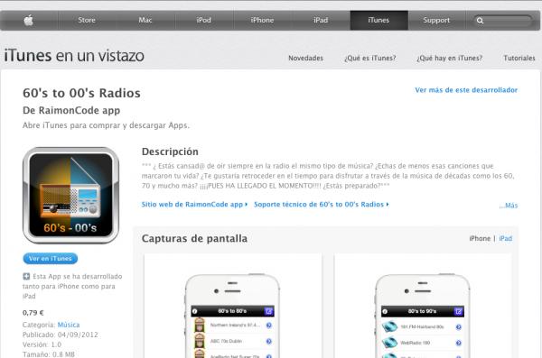 Ficha de la App 60's to 00's Radio App