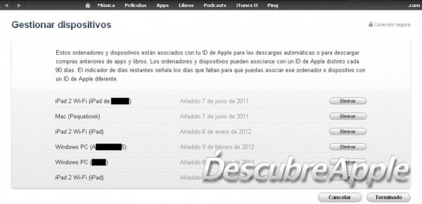 Sección de gestión de dispositivos en la iTunes Store