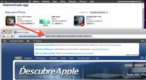 Arrastra el icono de la App al navegador para ver la ficha desde tu web browser preferido